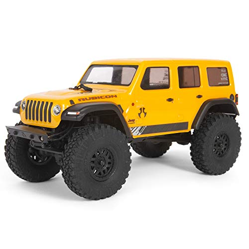 Axial SCX24 2019 Jeep Wrangler JLU CRC RC Crawler 4WD Truck RTR with LED Lights, 3-Ch 2.4GHz Transmitter, Battery, and USB Charger: (Yellow) AXI00002T2