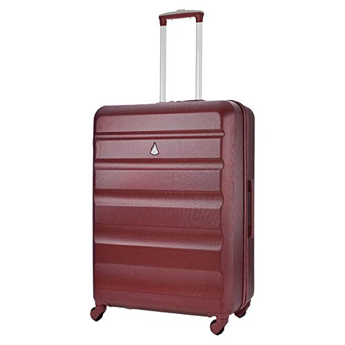 Aerolite Lightweight 25' ABS Hard Shell Travel Hold Check in Luggage Suitcase with 4 Wheels (Wine)