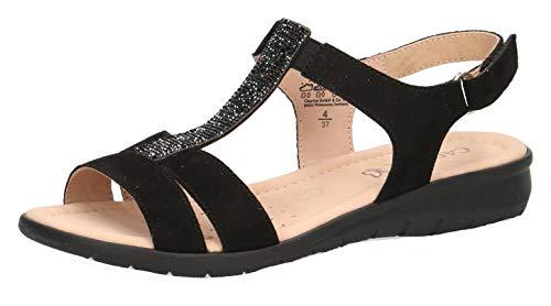 CAPRICE 28605-22 Damen Riemchensandale,Sandale,Sandalette,Sommerschuh,bequem,flach,(4) Black Suede,42 EU
