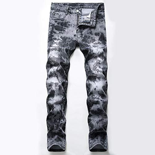 Jeans Jeanshosen Männer Jeans Hip Hop Print Slim Jeans Mode Farbe Motorrad Designer Denim Hose Männlich Straight Straight Print Jeans 29 Gra