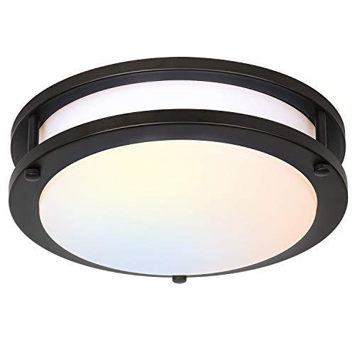 13 inch Flush Mount LED Ceiling Light Fixture, 3000K/4000K/5000K Adjustable Ceiling Lights, Oil Rubbed Bronze Saturn Dimmable Lighting for Hallway Bathroom Kitchen or Stairwell, ETL Listed