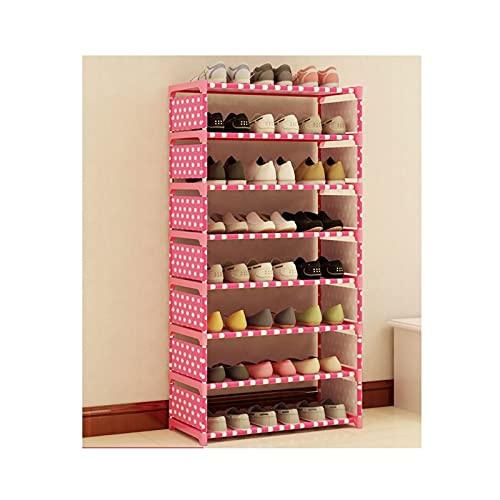 LYLY Zapatero independiente, ligero, de tela no tejida, organizador de almacenamiento para zapatos, para entrada, pasillo y armario (color: rosa, tamaño: 120 cm (8 niveles))
