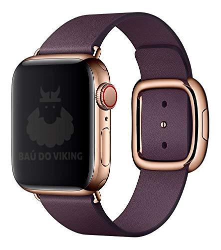 Pulseira Couro Fecho Moderno, Compatível com Apple Watch (Roxa/RoseGold, 40mm)