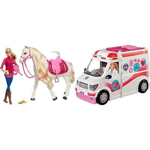 Barbie FTF02 - Traumpferd und Puppe, laufendes und tanzendes Pferd mit Berührungs- und Geräuschsensoren, Mädchen Spielzeug ab 3 Jahren & FRM19 - 2-in-1 Krankenwagen, aufklappbares Fahrzeug