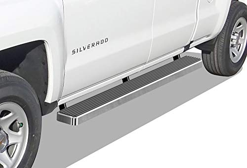 APS iBoard (Silver 6 inches) Running Boards Nerf Bars Side Steps Step Rails Compatible with 2007-2018 Chevy Silverado GMC Sierra Double Extended Cab & 2019 2500 3500 HD (Exclude 07 Classic)