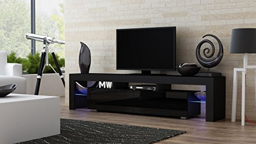 Concept Muebles TV Stand Milano 200 Black Body/Modern LED TV Cabinet/Living Room Furniture/Tv Cabinet fit for up to 90-inch TV Screens/High Capacity Tv Console for Modern Living Room (Black & Violet)