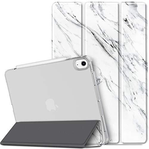 EasyAcc Cover Compatibile con iPad Air 4 Generazione/iPad 10.9 2020 Custodia[A2324/A2072/A2316/A2325], [Supporta Ricarica di Pencil 2] Smart Cover Sottile Leggero Traslucida Smerigliata -Marmo Bianco
