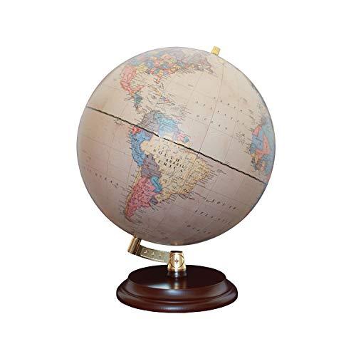 Magellan Vasa Globus mit politischem Kartenbild oder handkaschiert, freistehend ohne Meridian Durchmesser 32 cm, Globus mit rotbraunem Holzfuß Maßstab 1:40.000.000 politisches Kartenbild antik 32 cm