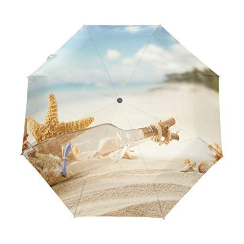 Paraguas Personalizar 3 Pliegues Beach Shell Drifting Botella a Prueba de Viento...