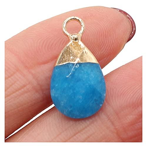 XINGTAO Piedra Rugosa Amatistas Naturales Piedra Colgante Agates de Cristal Plano Turquesa Lapis Lazuli Encantos de Piedra para joyería Que Hace Collar Pendiente Bricolaje (Metal Color : Blue)