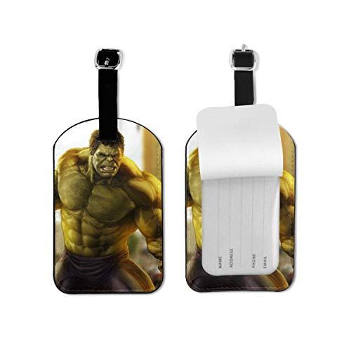 Hulk Luggage Tags Adjustable Strap Leather Luggages Tag for Baggage Bags/Suitcases - Name ID Labels Set for Travel