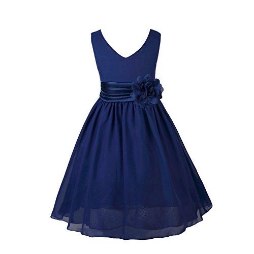 TiaoBug Enfant Fille Robe de Soirée Cérémonie Robe de Demoiselle d'honneur Mariage Robe de Mariee Robe Ceinture à Fleur Organza Robe Mousseline de Soie Robe de Fête 2-14 Ans Bleu Marine #12