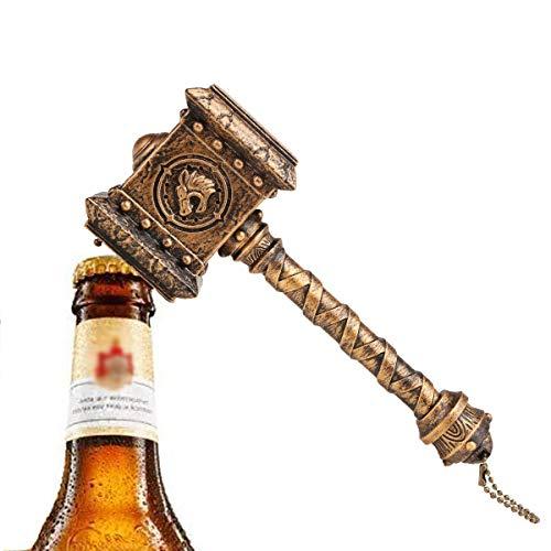 Doomhammer Bier Flaschenöffner mit Sound,Quake Thor Hammer Bier und Getränk Flaschenöffner, Perfekt für Bar und Haushalt,WOW-Spiel Fans Geschenk,Loc'tar.Ogar,für die Horde (Gold)