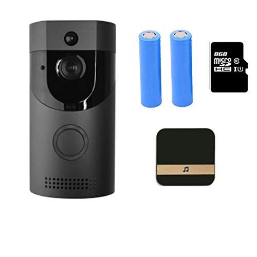 KOLOSM Timbre De Video WiFi Doorbell Impermeable Smart Video Door Chime 720P InterComero inalámbrico Alarma de Abeto IR Cámara de visión Nocturna (Color : Option4, Plug Type : 2)
