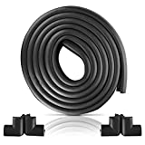 Furniture Edge and Corner Guards | 16.2ft Protective Foam Cushion | 15ft Bumper 4 Adhesive Childsafe Corners | Baby Child Proofing Foam Set and Safe for Table, Fireplace, Countertop | Black