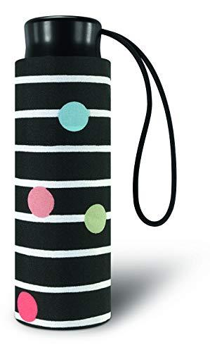 Paraguas Plegable Mini de Bolsillo Estampado de Topos y Rayas con Fondo de Color (Negro)