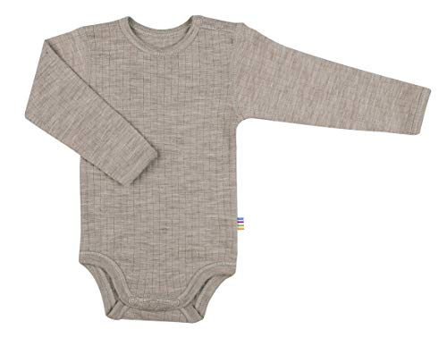 Joha Baby Unisex Body Langarm Reine Merino-Wolle, Farbe:sesam Melange, Größe:68/74