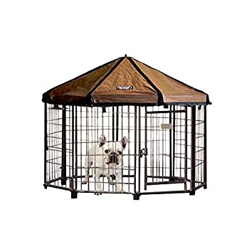 Advantek 23220E Pet Gazebo Portable Easy Setup Outdoor 4 Foot Wide Metal Dog Kennel Playpen Enclosure and Protective Weatherproof Umbrella Roof Awning