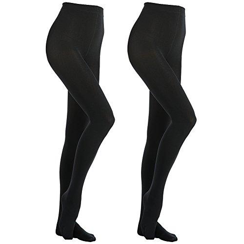 MANZI Women's 2 Pairs Super Opaque with Fleece Soft Black Tights 400 Denier