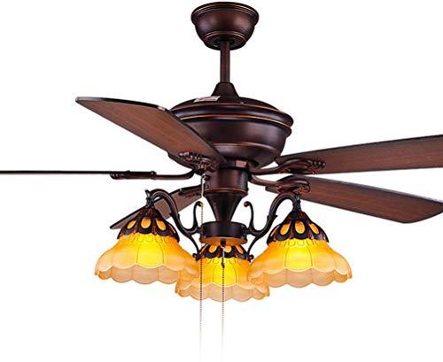 3 licht restaurant ventilator kroonluchter, plafond ventilatoren met lamp, houten ventilator messen, rustieke vintage ventilator hanglamp verlichting, trek touw schakelaar