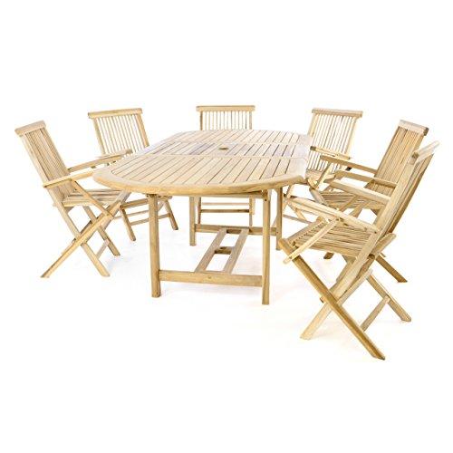 Divero Gartenmöbelset Sitzgruppe Teakholz Natur Tisch 170/230 cm ausziehbar 6 x Gartenstuhl mit Armlehne klappbar