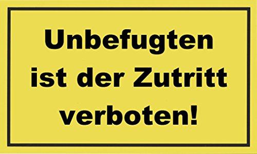"""Metafranc Hinweisschild \""""Unbefugten ist der Zutritt verboten!\"""" - 400 x 250 mm / Beschilderung / Verbotsschild / Zutrittsverbot / Privatgrundstück / Grundstückskennzeichnung / 500500"""