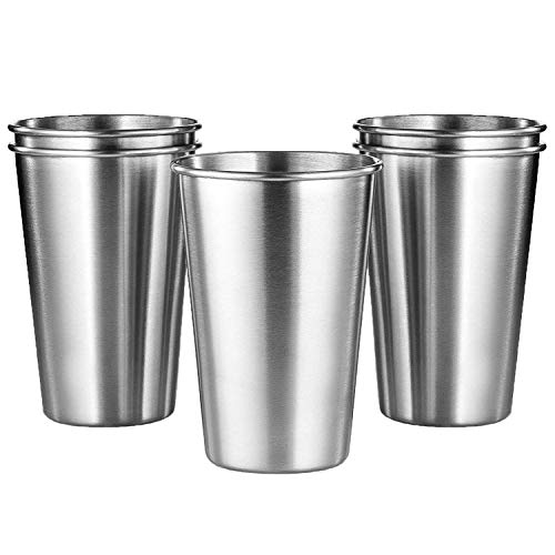 KISEER 5 Pack 16 Ounce Stainless Steel Pint Cups Shatterproof Cup Tumblers Unbreakable Metal Drinking Glasses for Bar, Home, Restaurant