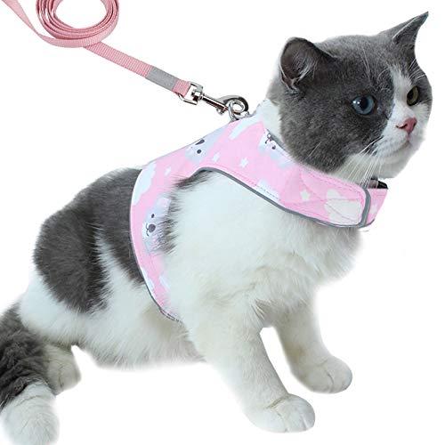 PETTOM Arnés con Correa para Gatos,Chaleco Arnes Cuerda Reflectante Seguridad Ajustable para Gato Cachorro Mascota Pequeño,Transpirable Cómodo Suave para Caminar Antiescape Viaje(Rosado S)