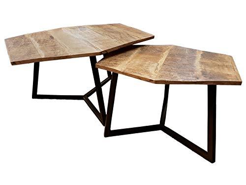 casamia Couchtisch Set 2 Stück Wohnzimmer Tisch Satztisch Paris Metall-Gestell schwarz oder weiß Farbe schwarz matt - Tabacco