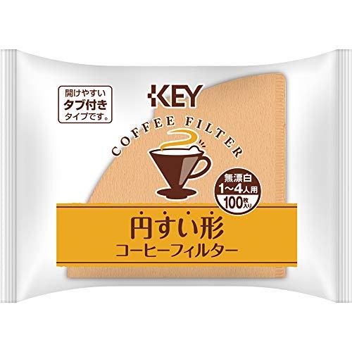 キーコーヒー 円すい形コーヒーフィルター 1~4人用 無漂白 100枚入り×5個