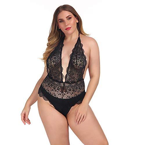 MEN.CLOTHING-LEE Corsés para Mujer Conjuntos de lencería para Mujer Europa y los Estados Unidos más el tamaño de Las Mujeres Modena Sexy Halter Espalda Abierta Damas Mono-Spot_4XL