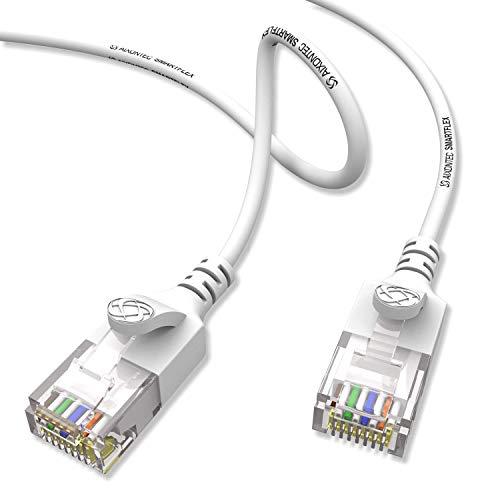 AIXONTEC Cat6 8m Gigabit Ethernet Netzwerkkabel Weiß dünnes lan Kabel mit 2,8 mm Kabeldurchmesser 250 MHz für Switch Router Modem Patchpanel Access Point X-box IP Kamera ps4 smart tv pc