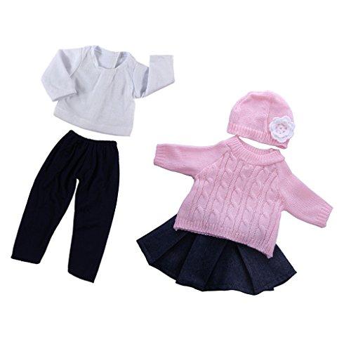 Amagogo Suéter de 5 Piezas con de Sombrero, Pantalones de Camiseta para Vestido de Muñeca de 18 ''
