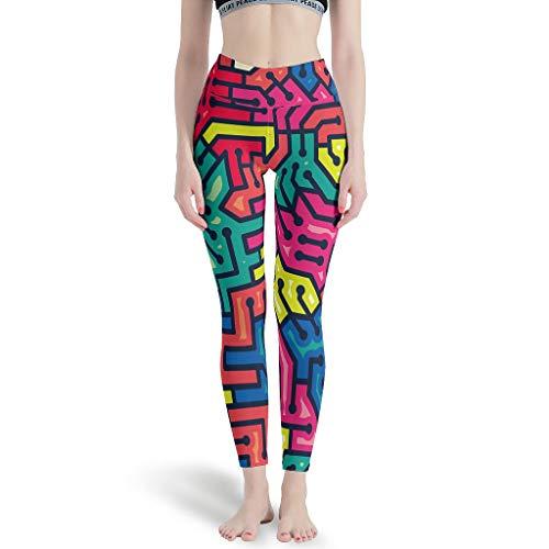LPLoveYogaShop - Leggings para mujer, diseño de líneas de cerebro, graffiti, estilosos, pantalones de yoga, polainas, pantalones de yoga Aerial, para caminos de error blanco L