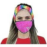Bandana facial de lentejuelas para mujeres, adultos, protección segura, transpirable, de algodón