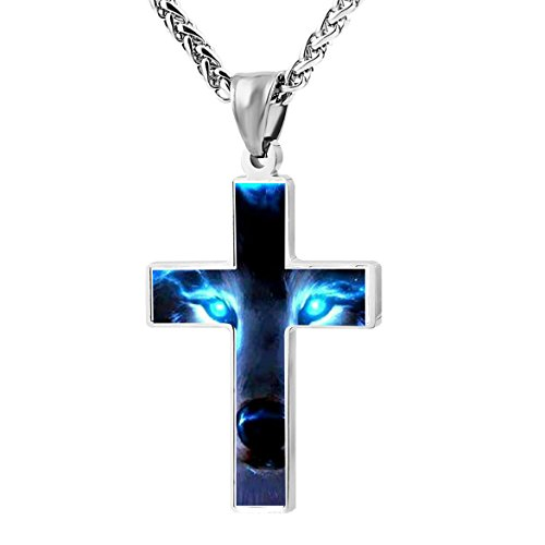 54RHD5BT1D Unique Metal Religious Light Eyes Wolf Zinc Alloy Stainless Silver Steel Cross Necklace Holder Pearl Chain Urn Pendants