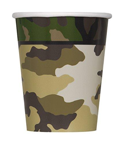 Party-accessoires in militair design Papieren beker Paper Cups (8 Pack) groen