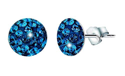"PAPOLY, Pendientes GENUINE CZECH CRYSTAL® cristal""Estrella Crux""PLATA DE LEY 925 0.31in/8mm en dos modelos (Sapphire)"