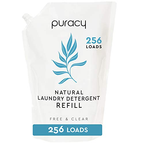 Puracy Liquid Laundry Detergent Refill - 64 fl oz, 256 Loads - Natural, Scent-Free Gentle Liquid Laundry Detergent - Liquid Concentrate Laundry Pouch with Stain Fighting Enzymes - Free & Clear