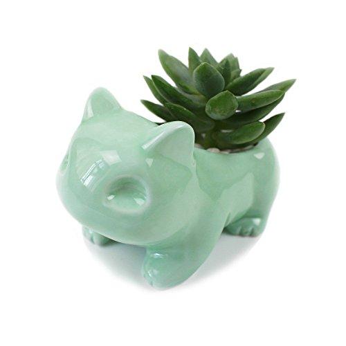 Kawaii Maceta de cerámica con diseño de bulbasaur con agujero, color blanco y verde