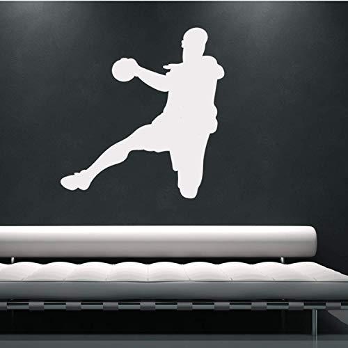 EmmiJules Wandtattoo Handball-Spieler Handballer - Made in Germany - in verschiedenen Größen und Farben - Kinderzimmer Junge Sport Wandsticker Wandaufkleber (95cm x 85cm, Weiß)