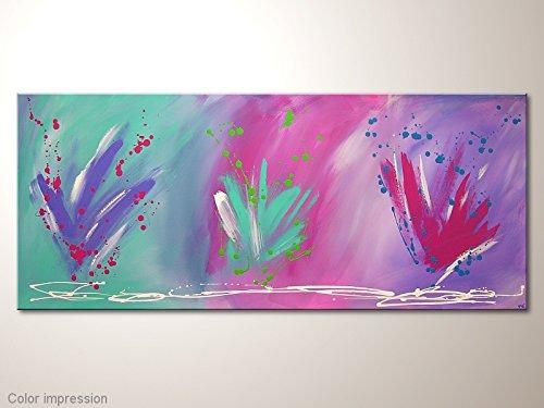 Wandbild im Grossformat, Acrylbild mit Türkis Lila Pink: