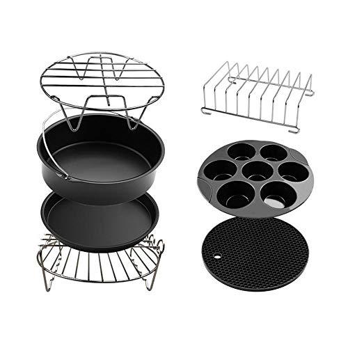 ZPSPZ accessori per friggitrice ad aria Aria Friggitrice elettrica Accessori 8in Cottura del pane Cestello Grill Pizza Plate 7 pezzi per 4.7QT-5.8QT@nero