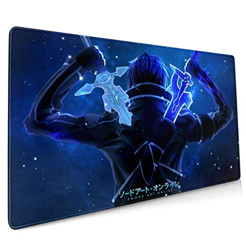 Sword Art Online Office,Study,Desk Mat,Shopping,Gaming Mouse Pad,Stitched Edges,Oversized Non-Slip Rubber,Extended Game Racing Mouse Pad 40 X 90 cm (15.8x35.5 Inches)