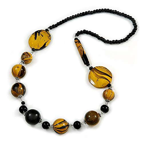 Stylish Animal Print Wooden Bead Necklace (Yellow/Black) - 80cm Long