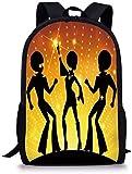 Decoraciones para Fiestas De Los 70,Gente Bailando,Discoteca,Club Nocturno,Pelos Afro,Color Dorado,Bokeh,Decorativos,Negro,Amarillo,Naranja para Niños Y Niñas,Mochila Deportiva para Hombre