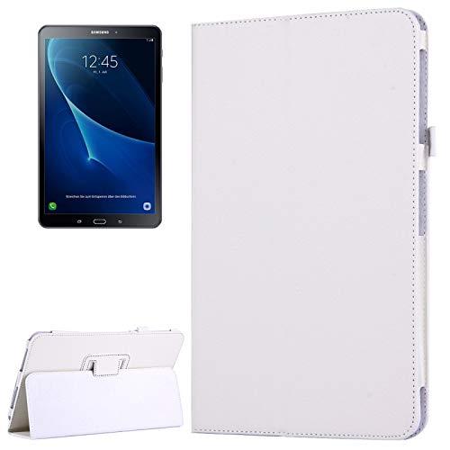 JIANGHONGYAN para Samsung Galaxy Tab A 10.1 / T580 Litchi Textura magnética Horizontal Flip Funda de Cuero con Soporte y función de Reposo/Despertador (Color : Blanco)
