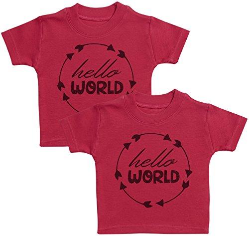 Hello World T-Shirts Bébé Jumeaux, Bébé Haut Jumeaux, Bébé garçon T-Shirts Jumeaux, Bébé Fille T-Shirts Jumeaux - 1-2 Ans Rouge