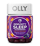 Immunity Sleep + Elderberry Gummies with Melatonin, Echinacea, Zinc Vitamin C Midnight Berry (36 Gummies)