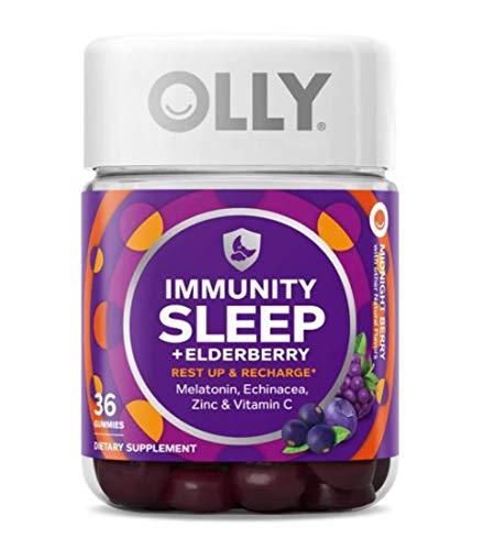 Immunity Sleep + Elderberry Gummies with Melatonin, Echinacea, Zinc Vitamin C Midnight Berry (36 Gummies)